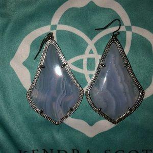 Kendra Scott Blue Lace Agate Alexandra Earrings